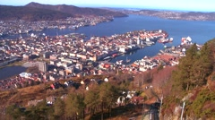 High angle establishing shot of the fjords of Bergen Norway. - stock footage