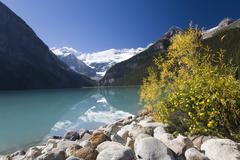 Stock Photo of Mountains and Lake, Lake Louise, Banff National Park, Alberta, Canada