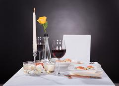 Portrait of oriented food on decorated table Stock Photos