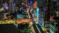 Bangkok traffic at night (Timelapse) Stock Footage