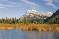 Stock Photo of Vermillion Lake and Mount Rundle in Autumn, Banff National Park, Alberta, Canada