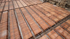 Reinforce iron cage net for built building floor in construction site Stock Footage