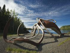 Giant Squid Sculpture, Glover's Harbour, Newfoundland and Labrador, Canada Stock Photos