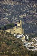 Olive Orchards and Village, Montefrio, Andalucia, Spain - stock photo