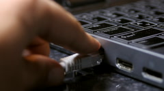 Hand Removing Ethernet Cable From Laptop, Media, Technology, Data, Side Shot - stock footage