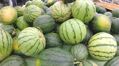Bunch of juicy watermelons at the Sunday market in Sri Lanka. Stock Footage