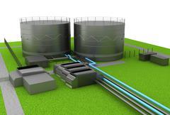 Stock Illustration of oil tanks