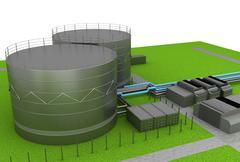 oil tanks - stock illustration