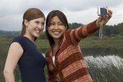 Friends Taking Self Portrait - stock photo