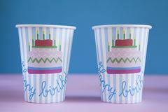Paper Birthday Cups - stock photo
