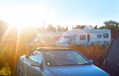 caravan camping - stock photo