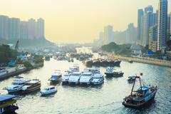 aberdeen district in hong kong - stock photo