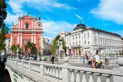 triple bridge and preseren square, ljubljana - stock photo