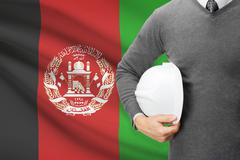 Architect with flag on background  - afghanistan Stock Photos
