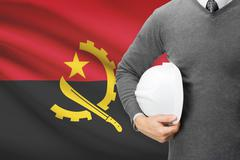 Architect with flag on background  - angola Stock Photos