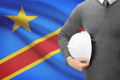 Architect with flag on background  - democratic republic of the congo Stock Photos