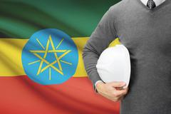 Architect with flag on background  - ethiopia Stock Photos