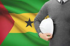Architect with flag on background  - democratic republic of sao tome and prin Stock Photos