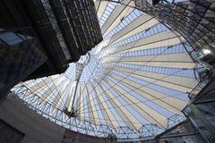 Atrium Roof, Sony Centre, Potsdamer Platz, Berlin, Germany Stock Photos