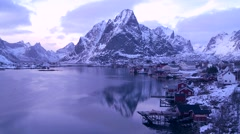Time lapse of a spectacular view of a harbor and bay in a village in the Arctic Stock Footage