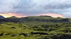 Surreal landscape with wooly moss at sunset in Iceland Stock Footage