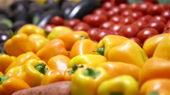 Organic, natural fruits and vegetables, vegetarianism. - stock footage