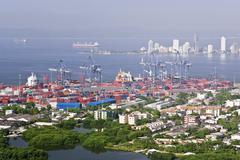 View of Port Cartagena from Convento de la Popa, Cartagena, Colombia Stock Photos