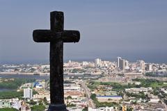 Cross at Convento de la Popa and Overview of Cartagena, Colombia Stock Photos