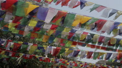 Prayer flags Blowing in the Wind - Lumbini Stock Footage