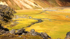 Landscape of Landmannalaugar of Iceland with its geothermal hot spring Stock Footage