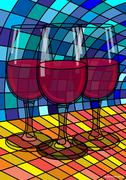 Stock Illustration of Illustration of Red Wine in Glasses