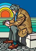 Illustration of Elderly Man Watching Sunset - stock illustration
