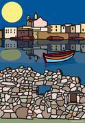 Illustration of Boat in Harbour - stock illustration