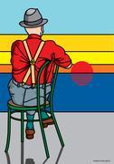 Illustration of Man Watching Sunset - stock illustration