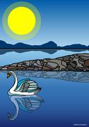 Illustration of Swan on Lake Piirros