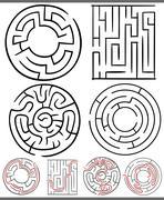 Mazes or labyrinths diagrams set Stock Illustration