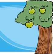 Apple tree cartoon illustration Stock Illustration