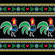 Polish folk art pattern with roosters on black - Wzory lowickie, Wycinanka Stock Illustration