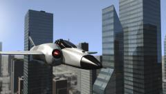 Futuristic spaceship flying outward a cityscape Stock Footage