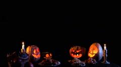 Jack O'lantern Among Pumpkins Stock Footage