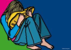 Illustration of Woman Crying - stock illustration