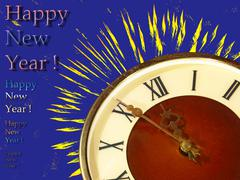 dial of hours and yellow fireworks on blue background.eve of new year. - stock illustration