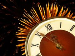 Dial of hours on a golden firework background.eve of new year. Stock Illustration