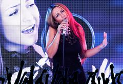 beautiful female singer - stock photo