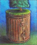 Tree Growing Out of Garbage Can with Man Sitting on Rim Stock Illustration