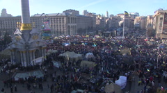 Hundreds of thousands of people at the rally on Independence square in Kyiv. Stock Footage