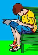 Illustration of Boy Reading - stock illustration