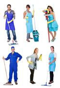 professional cleaners with equipment - stock photo