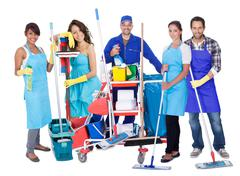 group of proffesional cleaners - stock photo