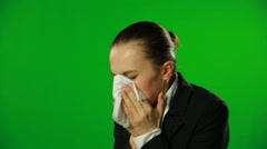 Businesswoman sneeze, green screen. FULL HD - stock footage